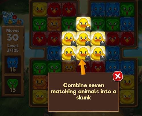 remove 7 matching animals for the skunk